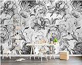 HONGYAUNZHANG Flor En Blanco Y Negro Papel Tapiz Fotográfico Personalizado 3D Estereoscópico Mural Sala De Estar Sofá Telón De Fondo Murales De Pared,290Cm (H) X 370Cm (W)