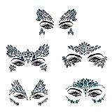ZEEREE Face Gem 5 juegos de gemas de cara de sirena flash, pegatina de cristal de joya de carnaval de diamantes de imitación, adecuado para niñas/mujeres ojos cara cuerpo tatuaje temporal