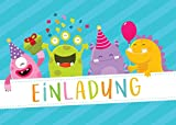 12 tarjetas de invitación para cumpleaños infantiles, para niños y niñas