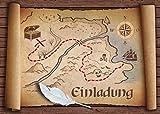 'Tarjeta de juego Vieja del tesoro de 12unidades: tarjetas de invitación para cumpleaños infantil de piratas o para schatzsuche/Geocaching