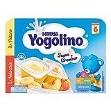 Nestlé Yogolino Postre lácteo Suave y Cremoso, 3 tarrinas de Plátano y 3 tarrinas de Melocotón - Para bebés a partir de 6 meses, 8 x 6 x 60g
