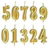 10 velas numéricas para tarta de cumpleaños, decoración de tartas, con números de 0 a 9, tonos brillantes, para fiesta de cumpleaños, celebración de fiestas, dorado/plateado/oro rosa 1