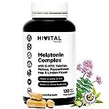 Melatonina Complex   120 cápsulas veganas para 4 meses   Con 5-HTP, Valeriana, Melisa, Pasiflora, Amapola Californiana, Lúpulo y Tila   Mejora el sueño y el descanso, y reduce la ansiedad y el estrés