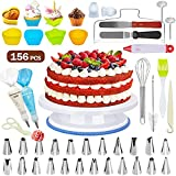 156Pcs Decoración de Pasteles, Torta Giratoria,Cake Turntable,Taza para Tartas,Boquillas,Bolso de pastelería,Cortador, Flor levantador Hacer Pasteles de Cumpleaños, Pasteles de Graduación, Muffins