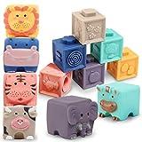 Bloques de construcción para bebés a partir de 12 meses, bloques blandos, 12 piezas de animales y dientes Montessori, juguetes de baño pedagógicos para niños a partir de 1 año (Set A)