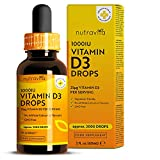 Vitamina D3 Gotas 1000UI - Dosis Alta de Colecalciferol Vegetariano - Liquida Vitamina D - 60 ml con 2.000 Gotas a 1.000 UI por Gota - Suministro Más de 1 Año - Sin Aditivos - Fabricado por Nutravita