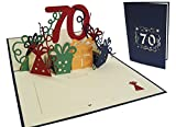LIN - Pop Up 3D Tarjeta de felicitación por cumpleaños, Happy Birthday 70 años, (#25)