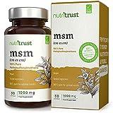 MSM 1000 mg Cápsulas de Nutritrust - Methylsulfonylmethane 100% puro - Ingrediente probado por laboratorio y aprobado por el médico - Obtención a base de plantas y producción certificada GMP
