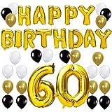 KUNGYO Letras Tipo Balón Doradas Happy Birthday+Número 60 Mylar Foil Globo+24 Piezas Negro Oro Blanco Globo de Látex 60 Años de Antigüedad Fiesta de Cumpleaños Decoraciones