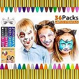 Gifort Pinturas Cara para Niños, 36 Colores Pintura Facial crayones de Pintura Carnaval para Halloween, Fiestas, Semana Santa, Cosplay, Fiestas Temáticas