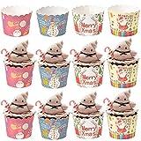 Envoltorios de Pastel Navidad CHEPL 200 Piezas Forros de Papel para Cupcakes Tazas de Papel para Muffins Hornear Decoración Herramientas