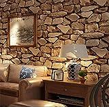 H&M Fondo de Pantalla H&M Papel Pintado PVC Retro 3D estéreo imitación Piedra Textura Papel Pintado decoración Dormitorio TV Pared salón Papel Tapiz -53 cm (W) * 10 m (L), Dark Brown