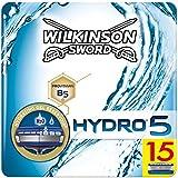 Wilkinson Sword Hydro 5 - Pack de 15 Recâmbios de Cuchillas de Afeitar para Hombre, Azul