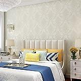 H&M Papel pintado autoadhesivo más grueso Estilo de Damasco lujo 3D relevación no tejido decoración sala de estar restaurante TV pared dormitorio papel pintado -53 cm (W) * 3m (L) , creamy-white